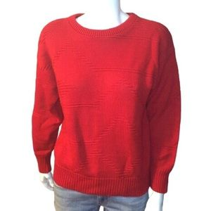Vintage Red Pullover Textured Pattern Knit Sweater
